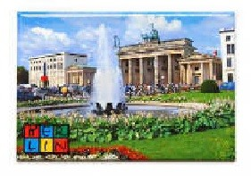 Magent Brandenburg Gate with fountain